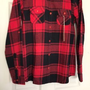Infinity Raine Tops - Red Buffalo Plaid Button Up